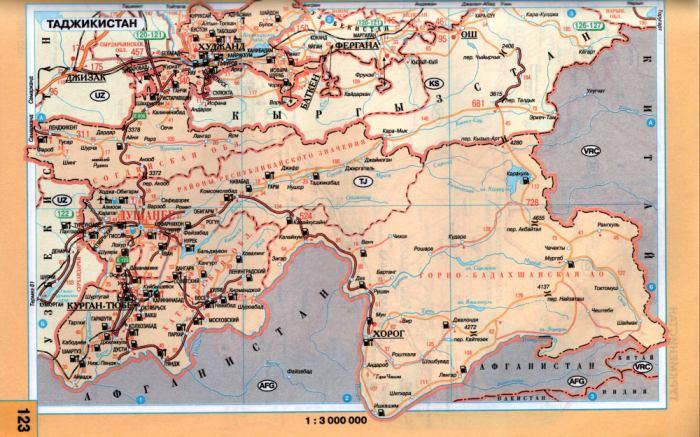 Таджикистан.  Схема автомобильных дорог Таджикистана - Душанбе, Хорог, Курган-Тюбе.  Скачать карту Таджикистана.